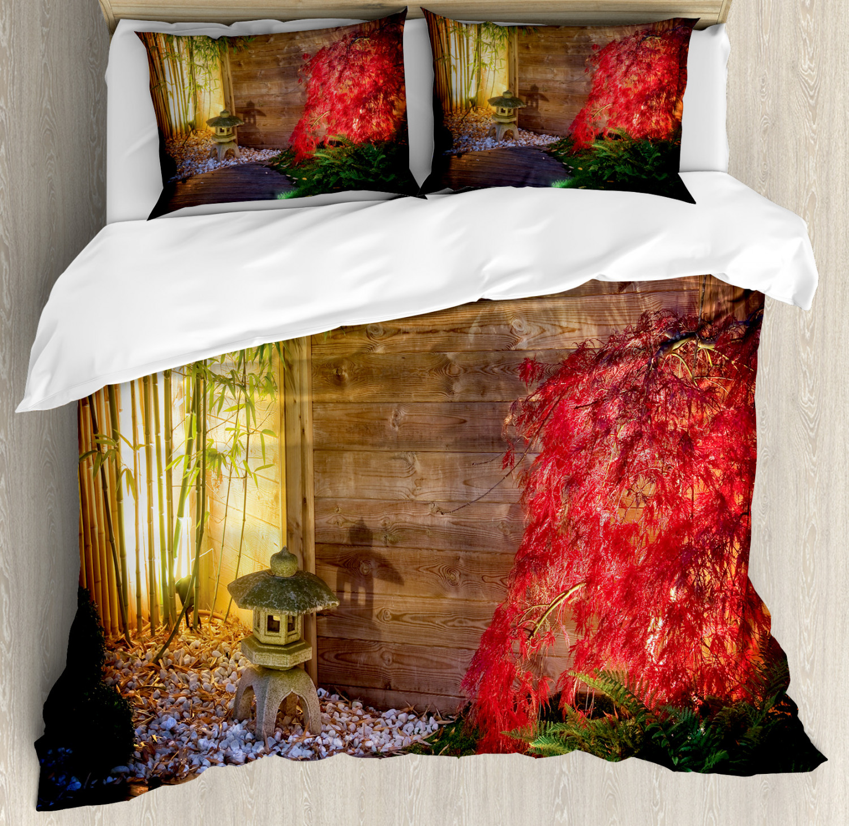 Garden Duvet Cover Set with Pillow Shams Japanese Zen Bamboo