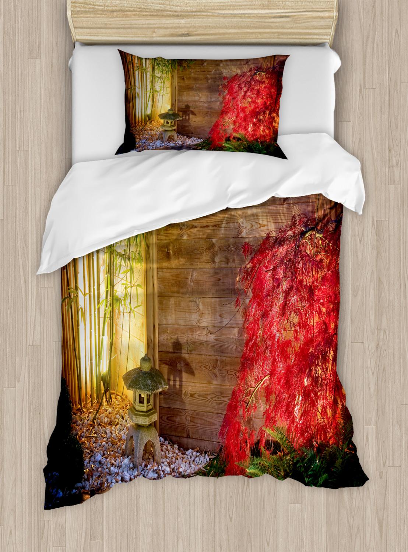 Garden Duvet Cover Set With Pillow Shams Japanese Zen