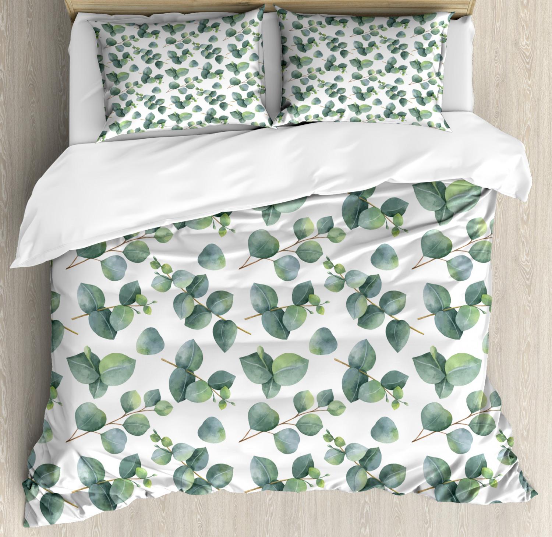 Leaf Duvet Cover Set with Pillow Shams Watercolor Eucalyptus Art Print