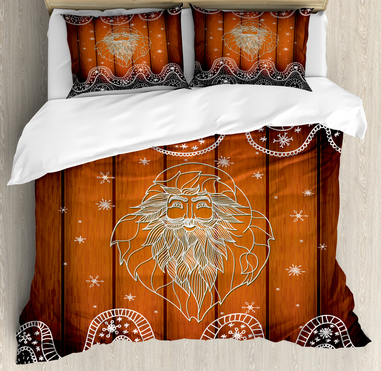 Christmas Duvet Cover Set with Pillow Shams Outline Santa Design Print