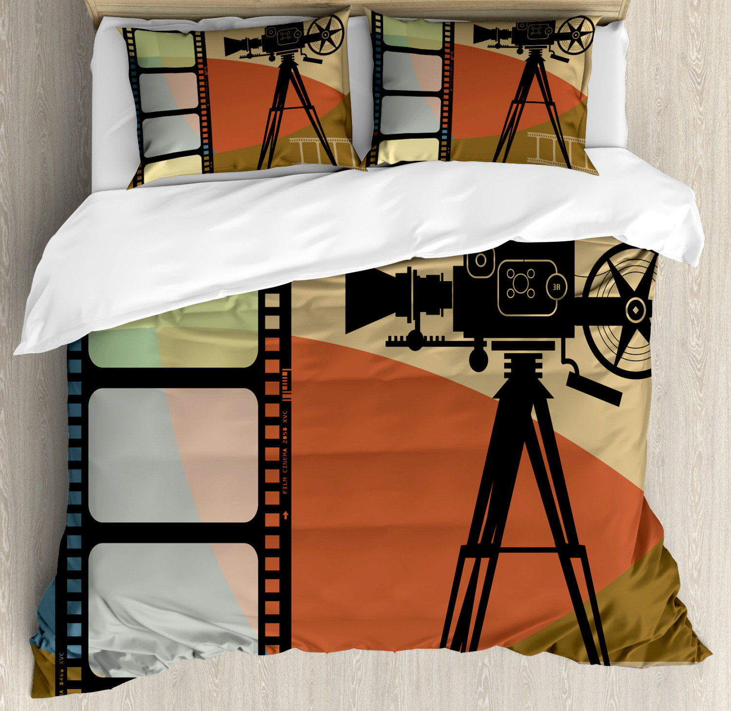 Movie Theater Duvet Cover Set with Pillow Shams Abstract Retro Print