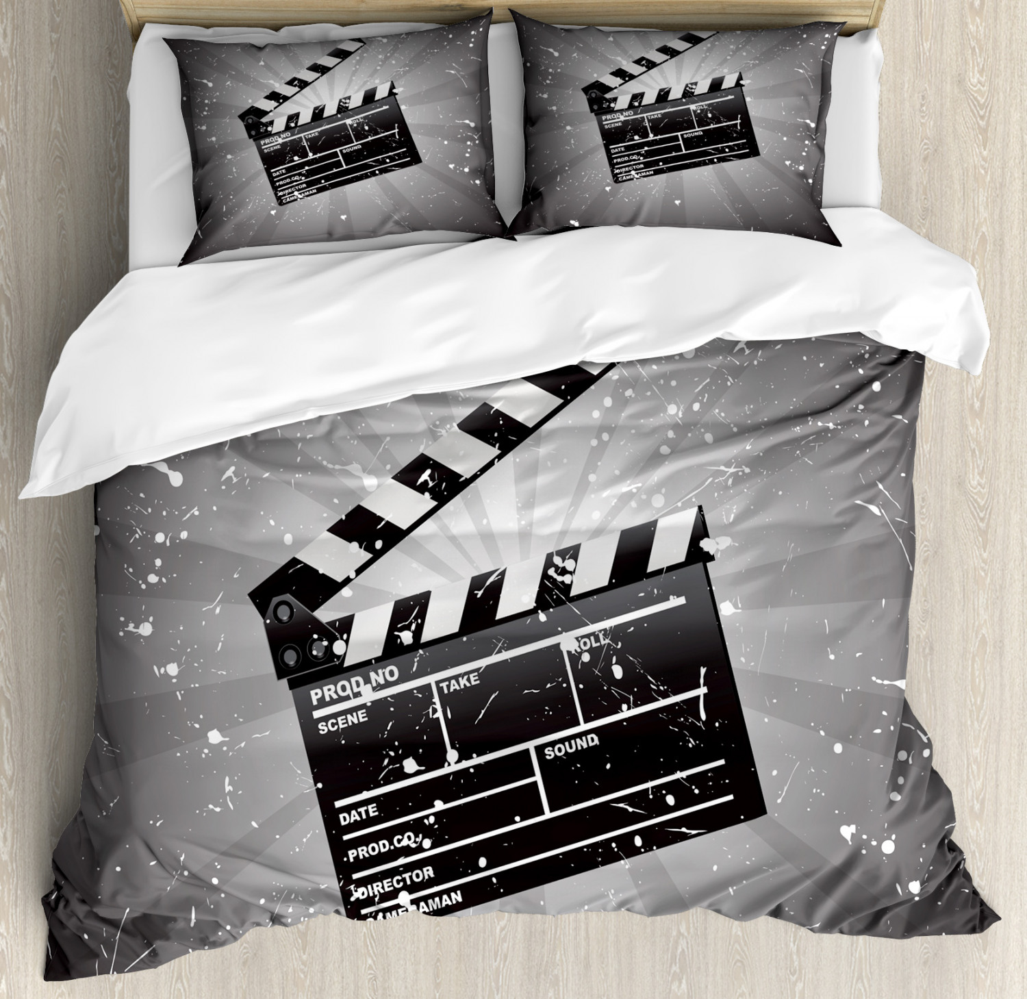 Movie-Theater-Duvet-Cover-Set-with-Pillow-Shams-Clapper-Board-Print