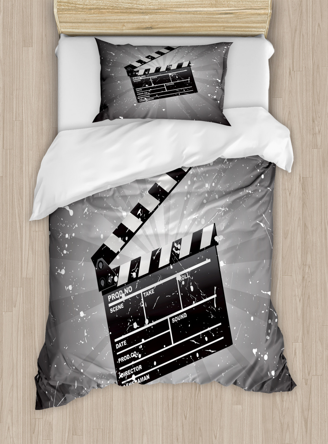 Movie-Theater-Duvet-Cover-Set-with-Pillow-Shams-Clapper-Board-Print miniature 6