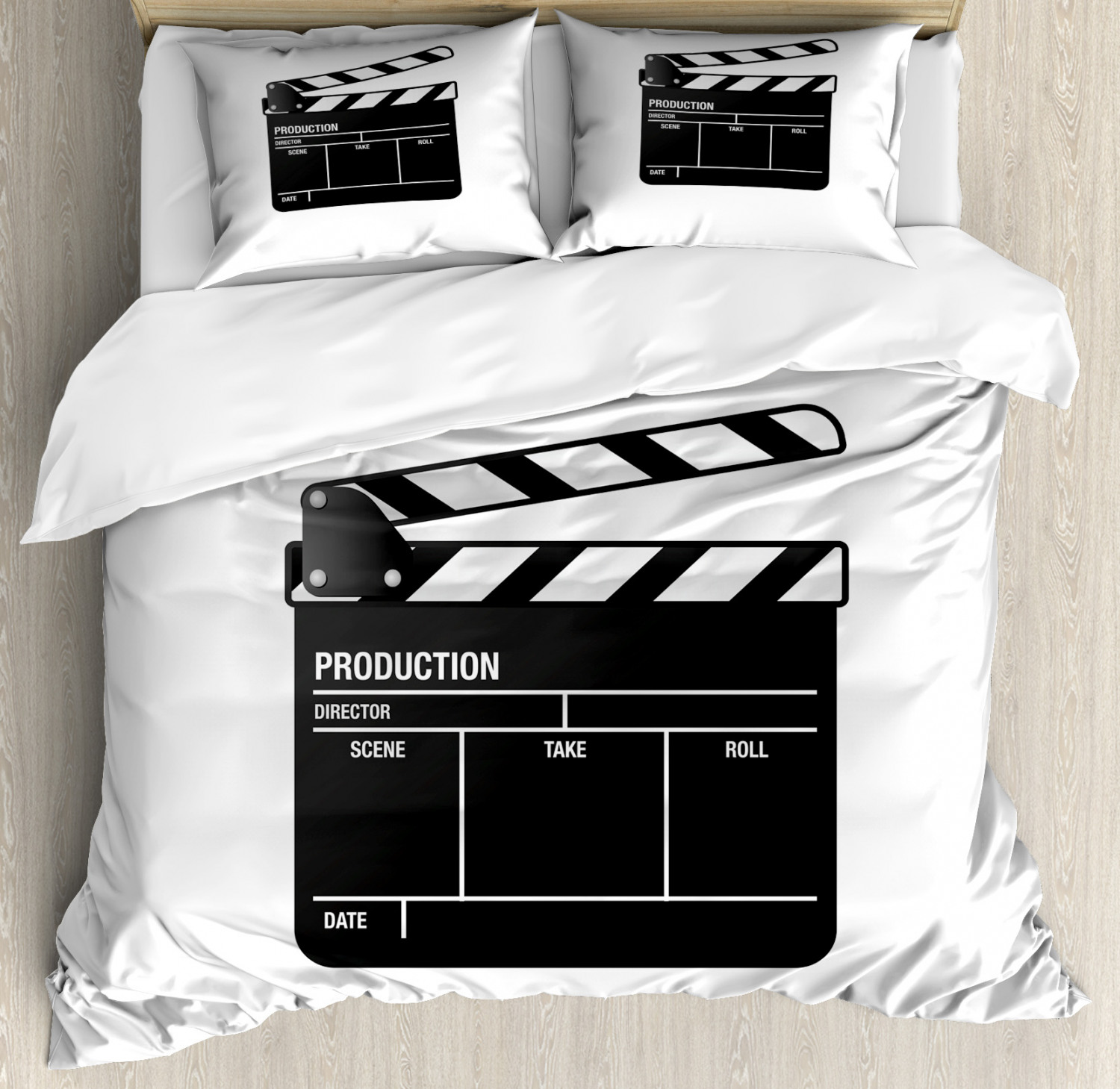 Movie Duvet Cover Set with Pillow Shams Film and Video Industry Print