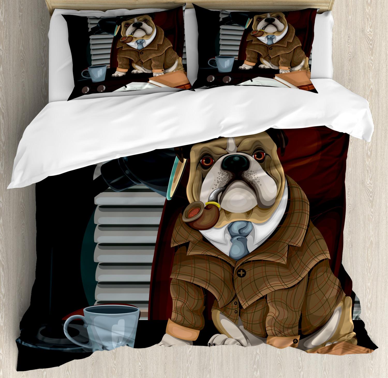 English Bulldog Duvet Cover Set with Pillow Shams Detective