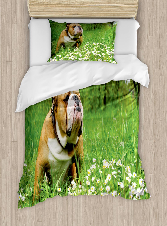 Copripiumino Bulldog Inglese.Bulldog Inglese Set Copripiumino Doppia Regina Re Dimensioni Con