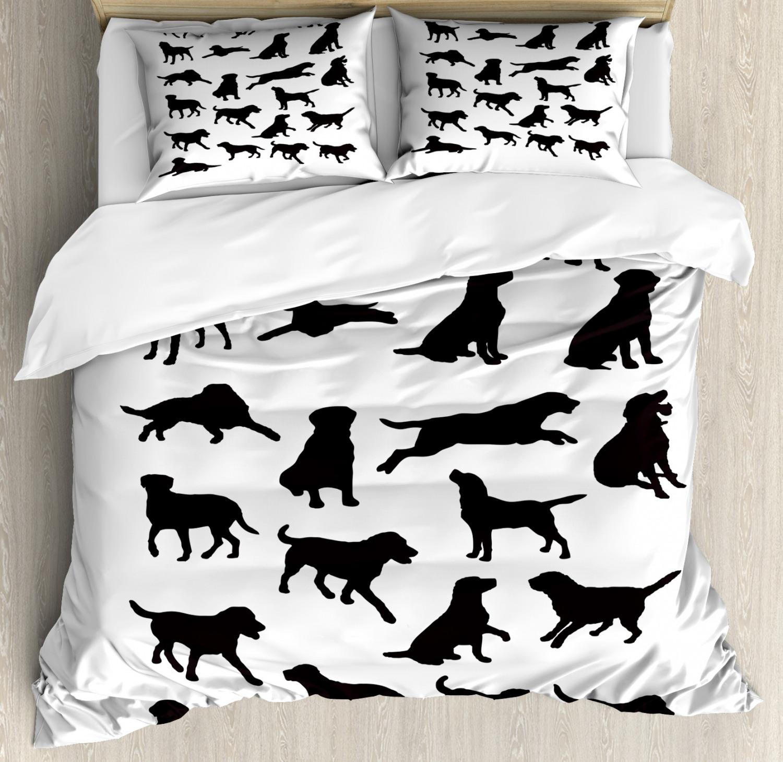 Labrador Duvet Cover Set with Pillow Shams Various Positions
