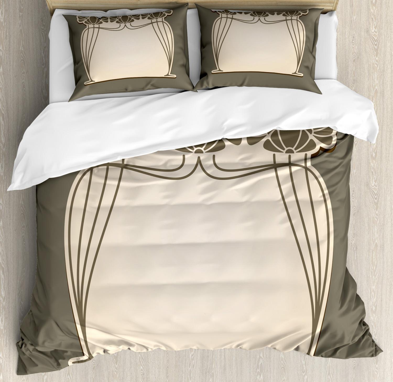 Art Nouveau King Size Duvet Cover Set Floral Arch Shape with 2 Pillow Shams