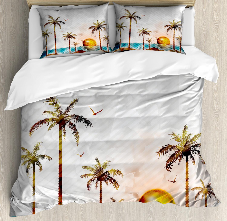 Island Duvet Cover Set with Pillow Shams Tropic Landscape Art Print