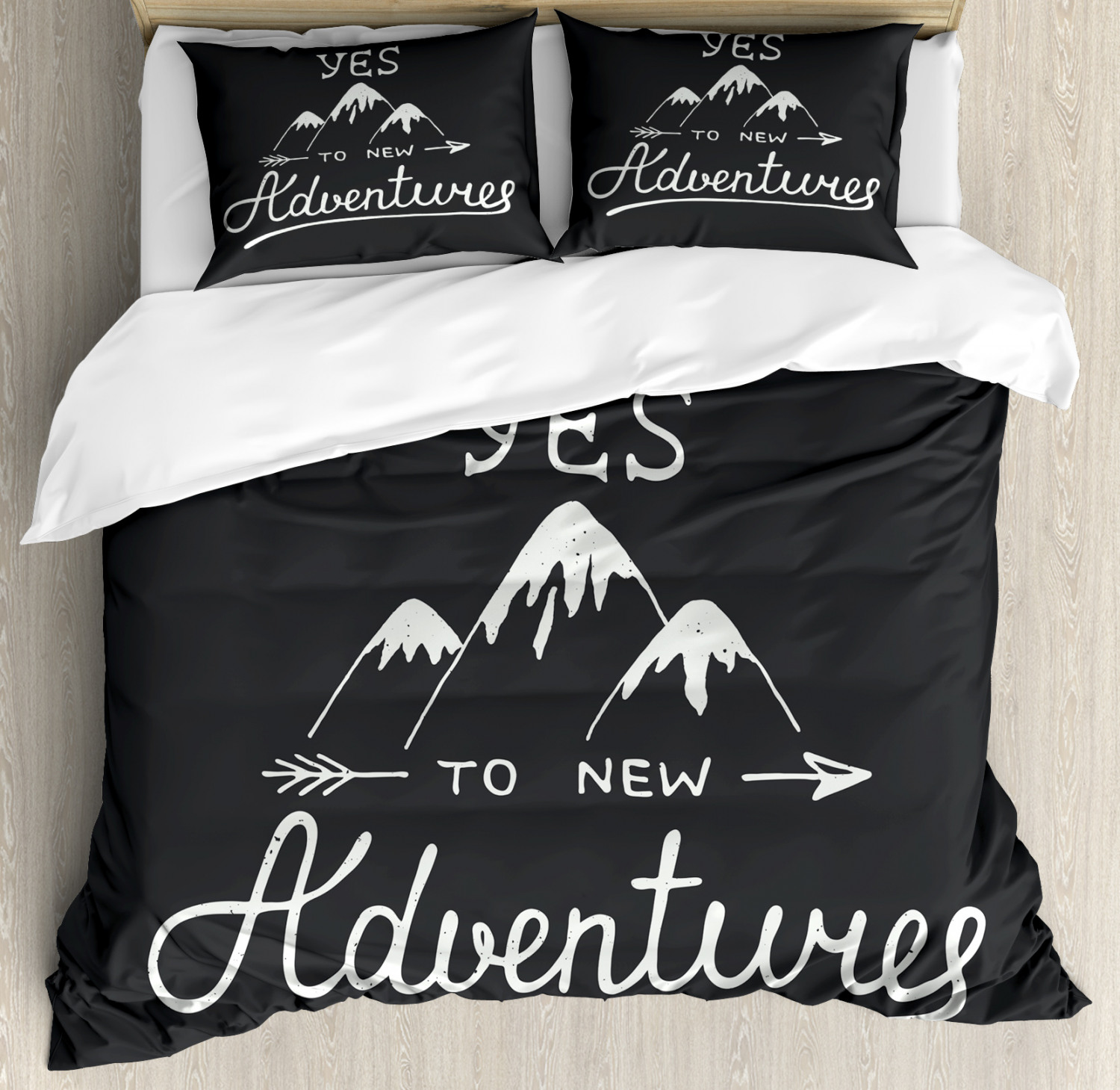 Adventure Duvet Cover Set with Pillow Shams Quote and Mountains Print