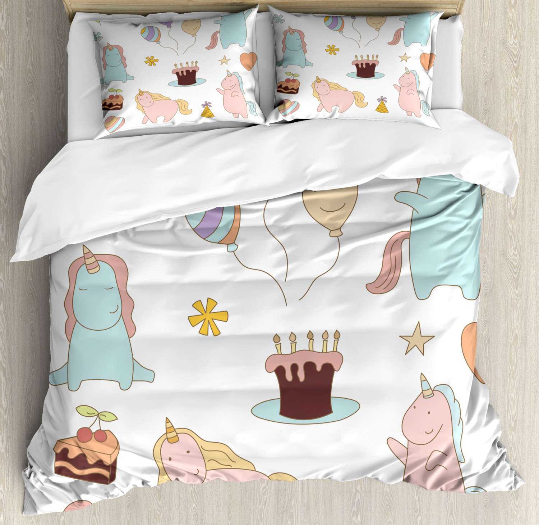 Unicorn-Duvet-Cover-Set-Twin-Queen-King-Sizes-with-Pillow-Shams-Bedding-Decor thumbnail 13