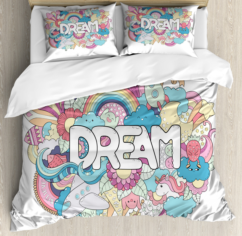 Unicorn-Duvet-Cover-Set-Twin-Queen-King-Sizes-with-Pillow-Shams-Bedding-Decor thumbnail 37