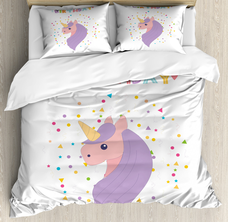 Unicorn-Duvet-Cover-Set-Twin-Queen-King-Sizes-with-Pillow-Shams-Bedding-Decor thumbnail 28
