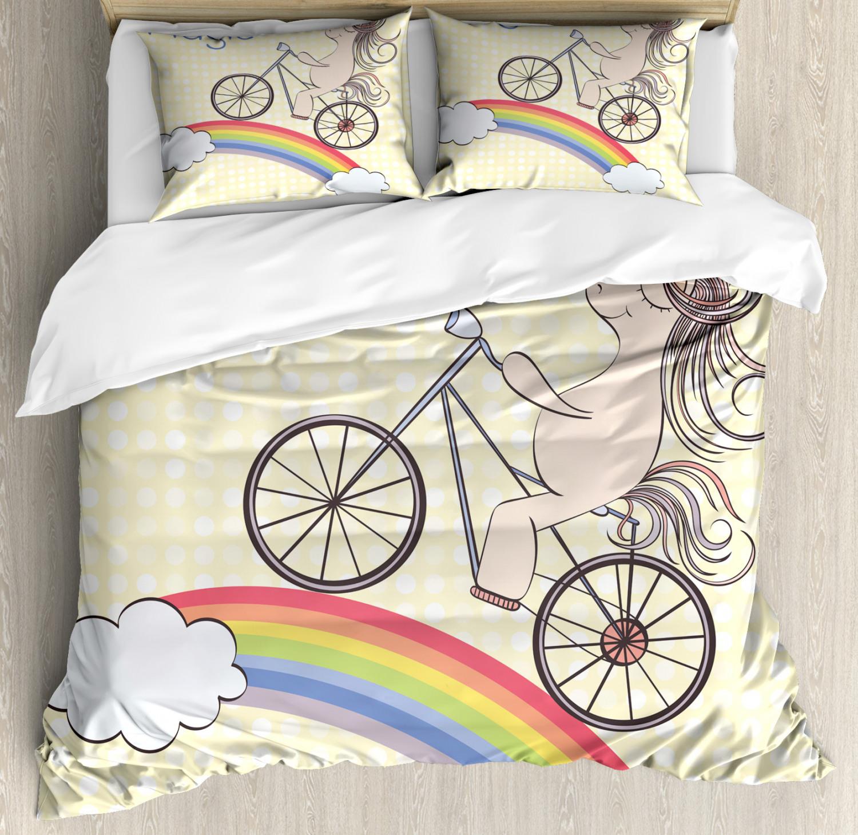 Unicorn-Duvet-Cover-Set-Twin-Queen-King-Sizes-with-Pillow-Shams-Bedding-Decor thumbnail 70