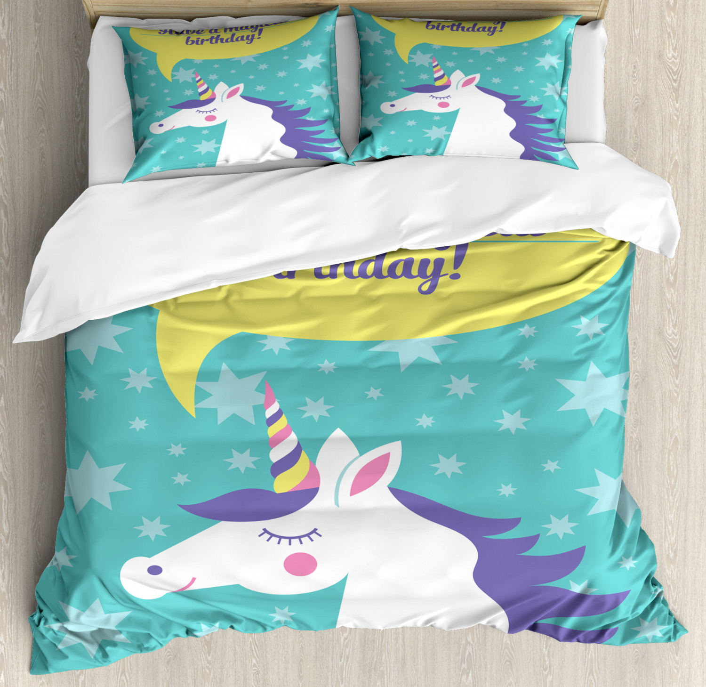 Unicorn-Duvet-Cover-Set-Twin-Queen-King-Sizes-with-Pillow-Shams-Bedding-Decor thumbnail 52