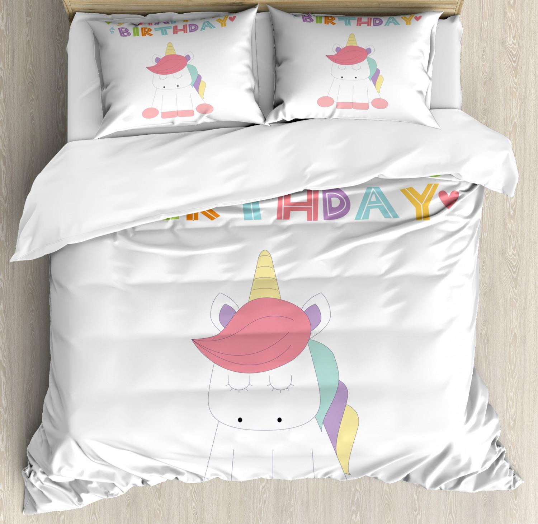 Unicorn-Duvet-Cover-Set-Twin-Queen-King-Sizes-with-Pillow-Shams-Bedding-Decor thumbnail 22