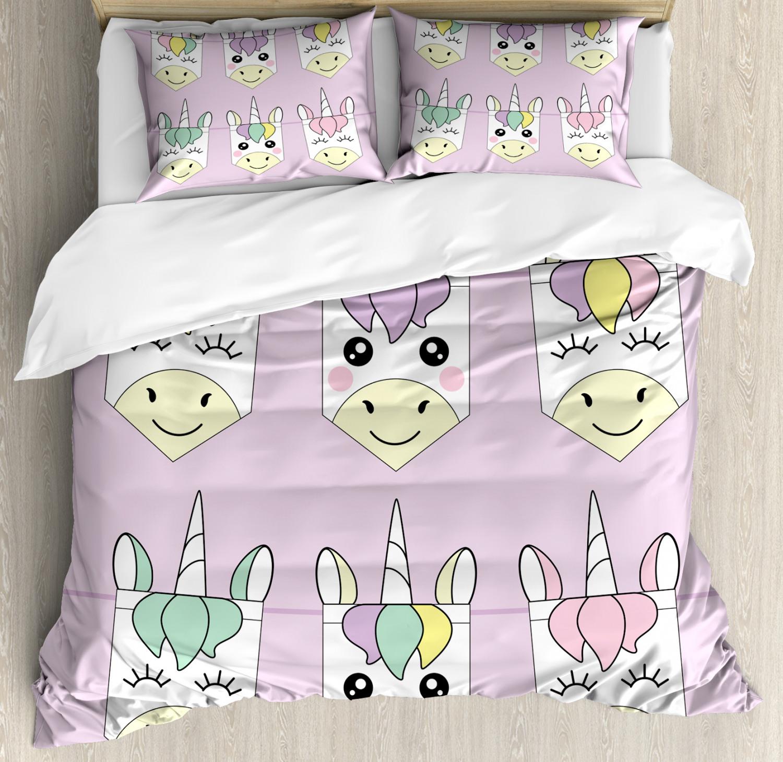 Unicorn-Duvet-Cover-Set-Twin-Queen-King-Sizes-with-Pillow-Shams-Bedding-Decor thumbnail 16