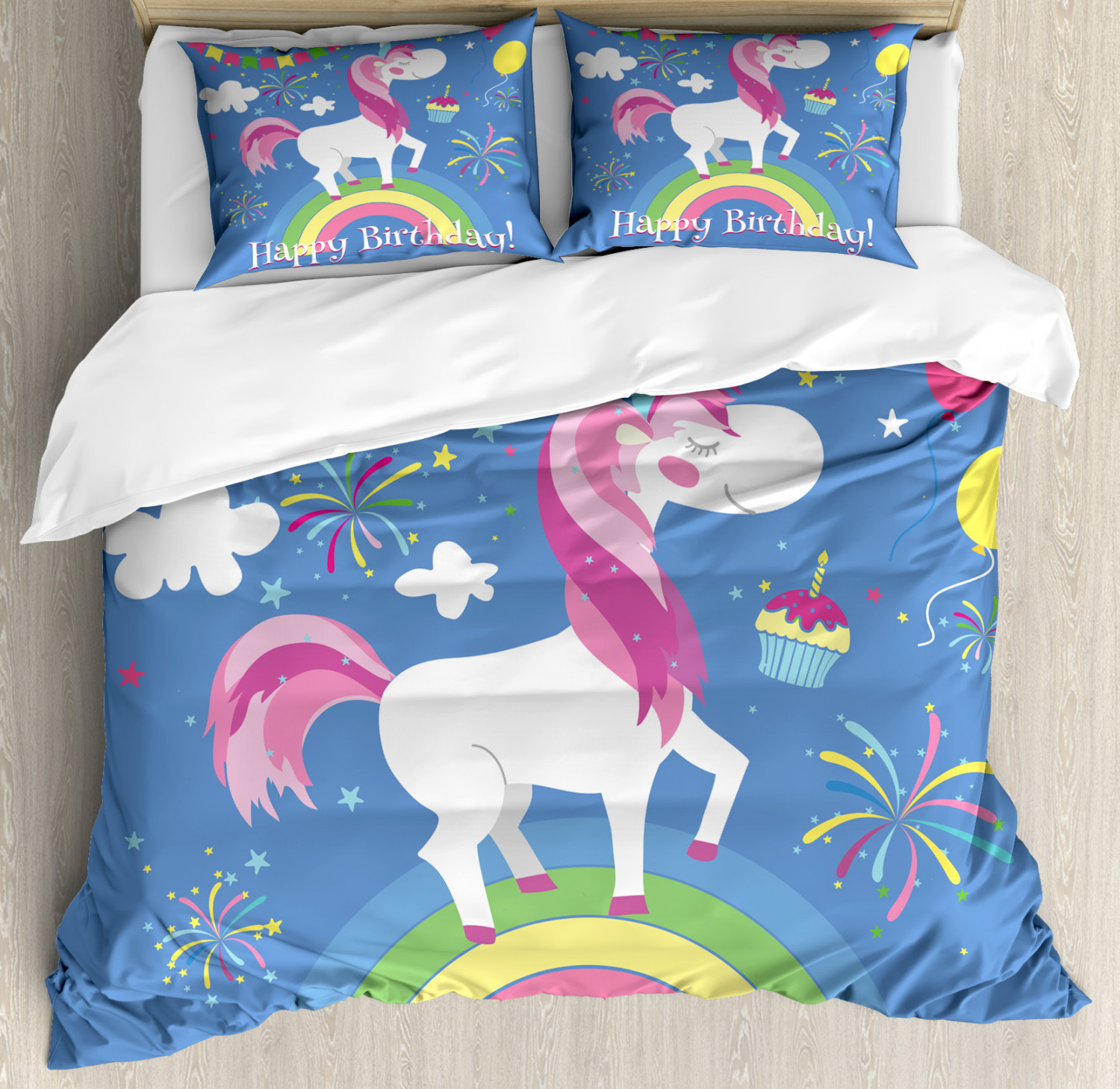 Unicorn Duvet Cover Set Twin Queen King Sizes with Pillow Shams Bedding Decor
