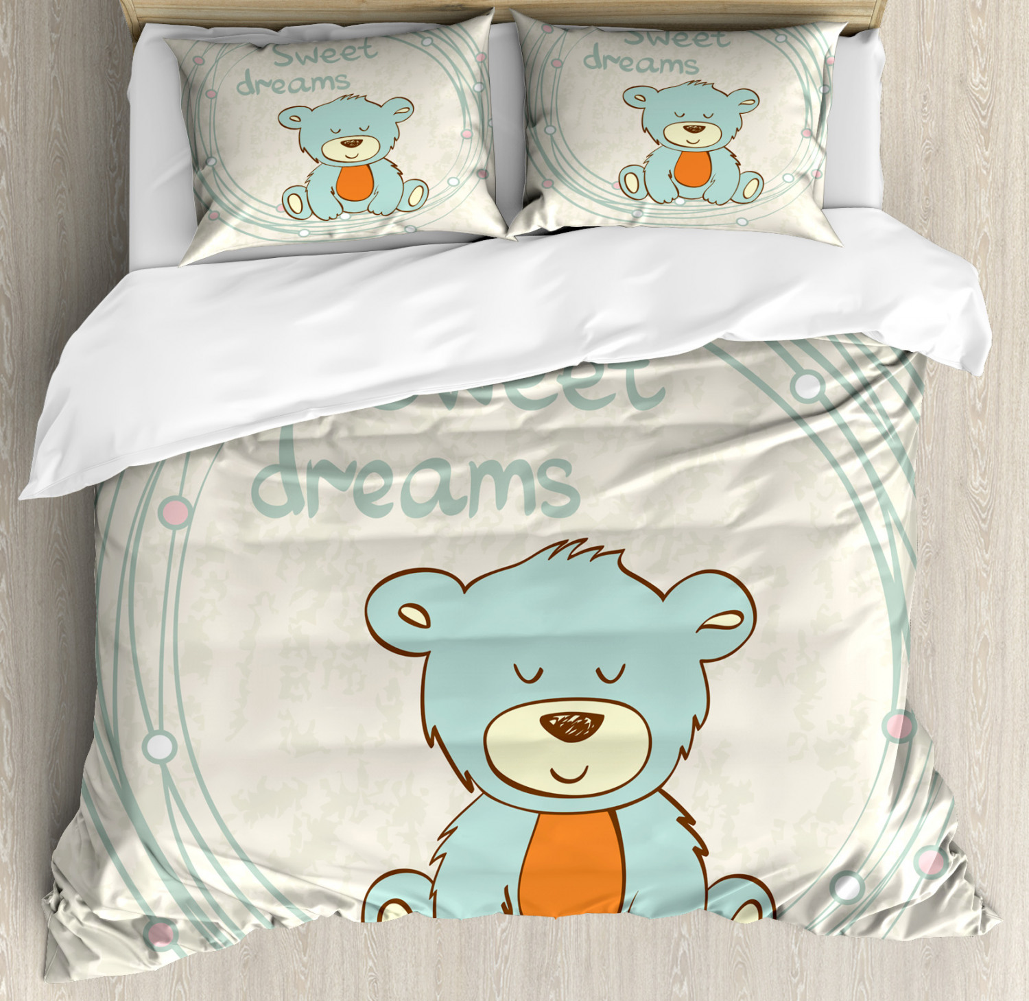 sweet dreams duvet cover set with pillow shams teddy bear. Black Bedroom Furniture Sets. Home Design Ideas