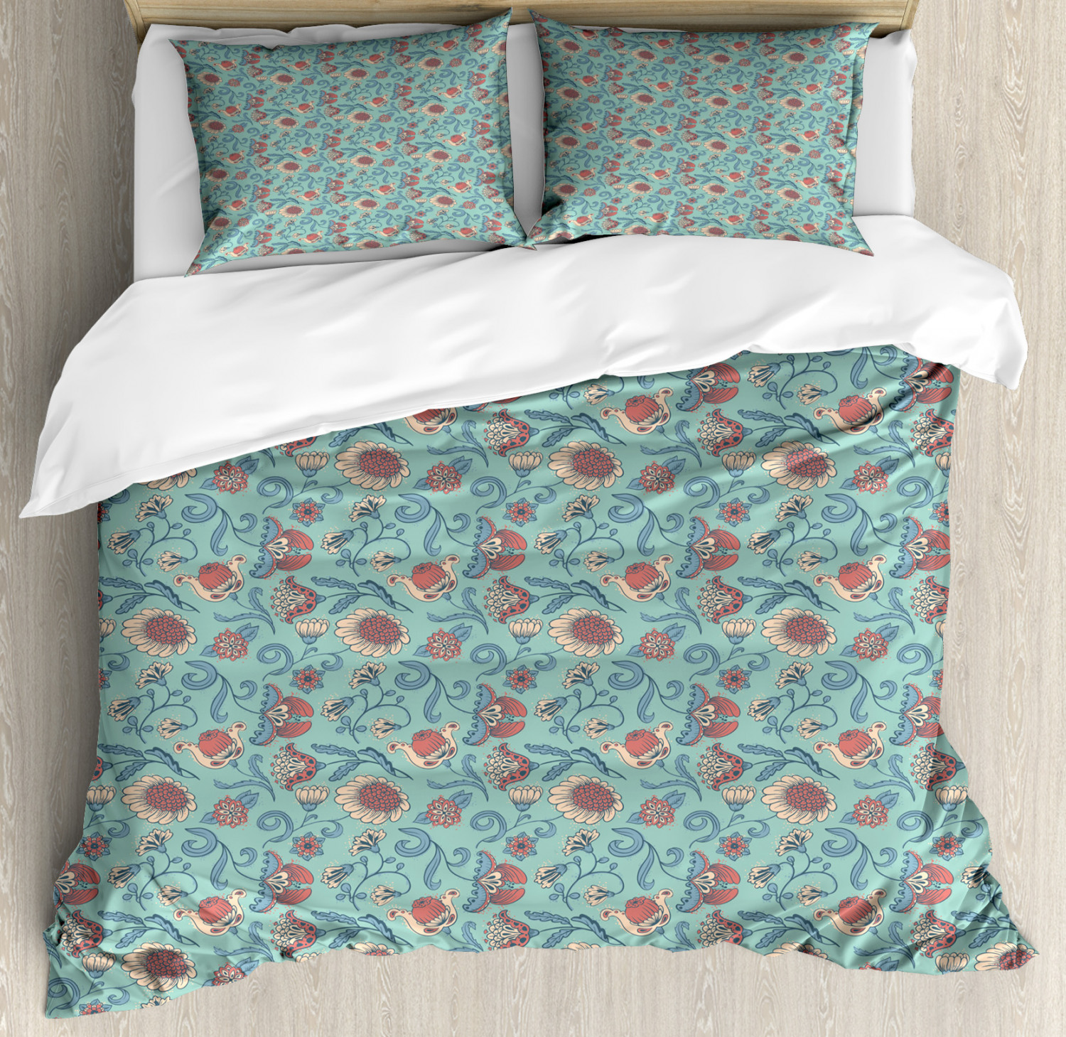 Aqua And Coral Duvet Cover Set Twin Queen King Sizes With