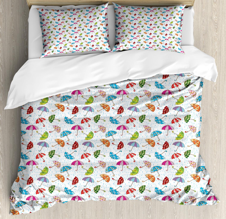 Rain Duvet Cover Set Queen Size colorful Doodle Umbrellas with 2 Pillow Shams