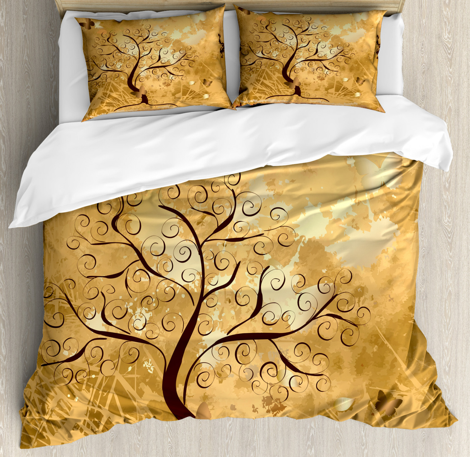 Tree Duvet Cover Set with Pillow Shams Branches and Butterfly Print