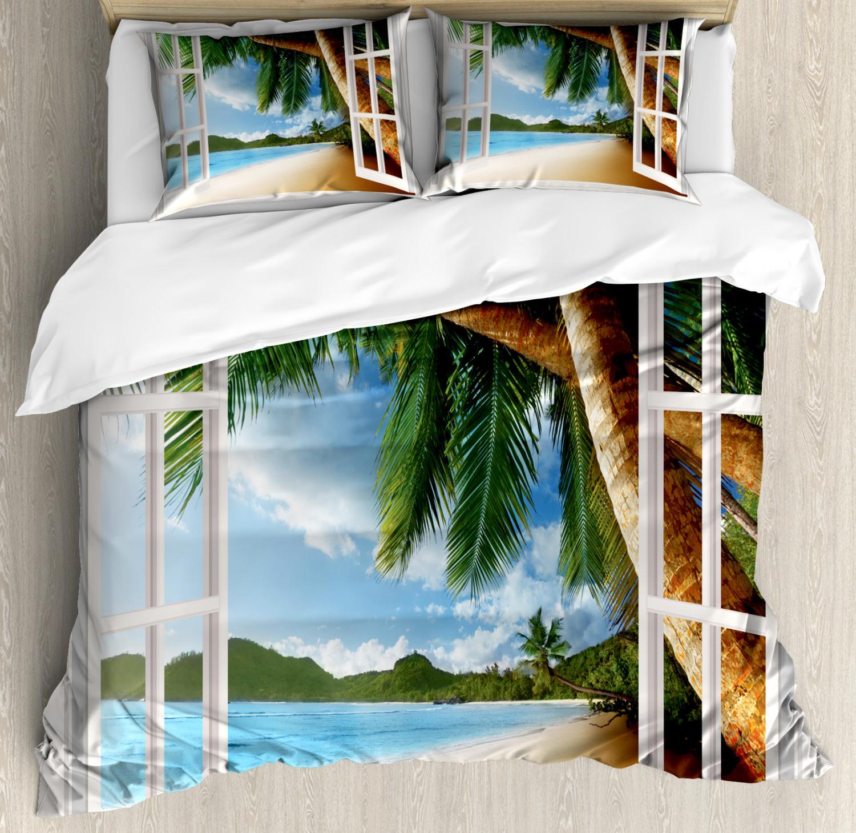Beach Duvet Cover Set with Pillow Shams Nautical Sand Landscape Print
