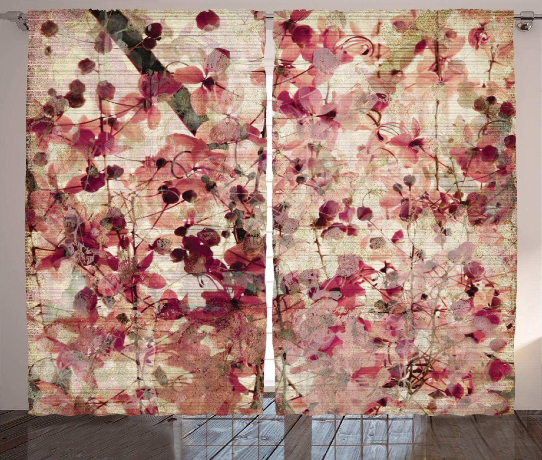 Curtains Curtains Curtains Floral Grungy Effect Cherry Blossoms Rosa 2 Panels Set 5d3ed6