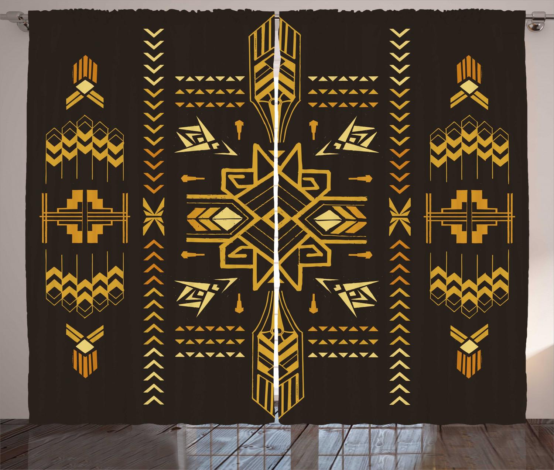 Geometric Curtains Tribal Vintage Aztec Window Drapes 2