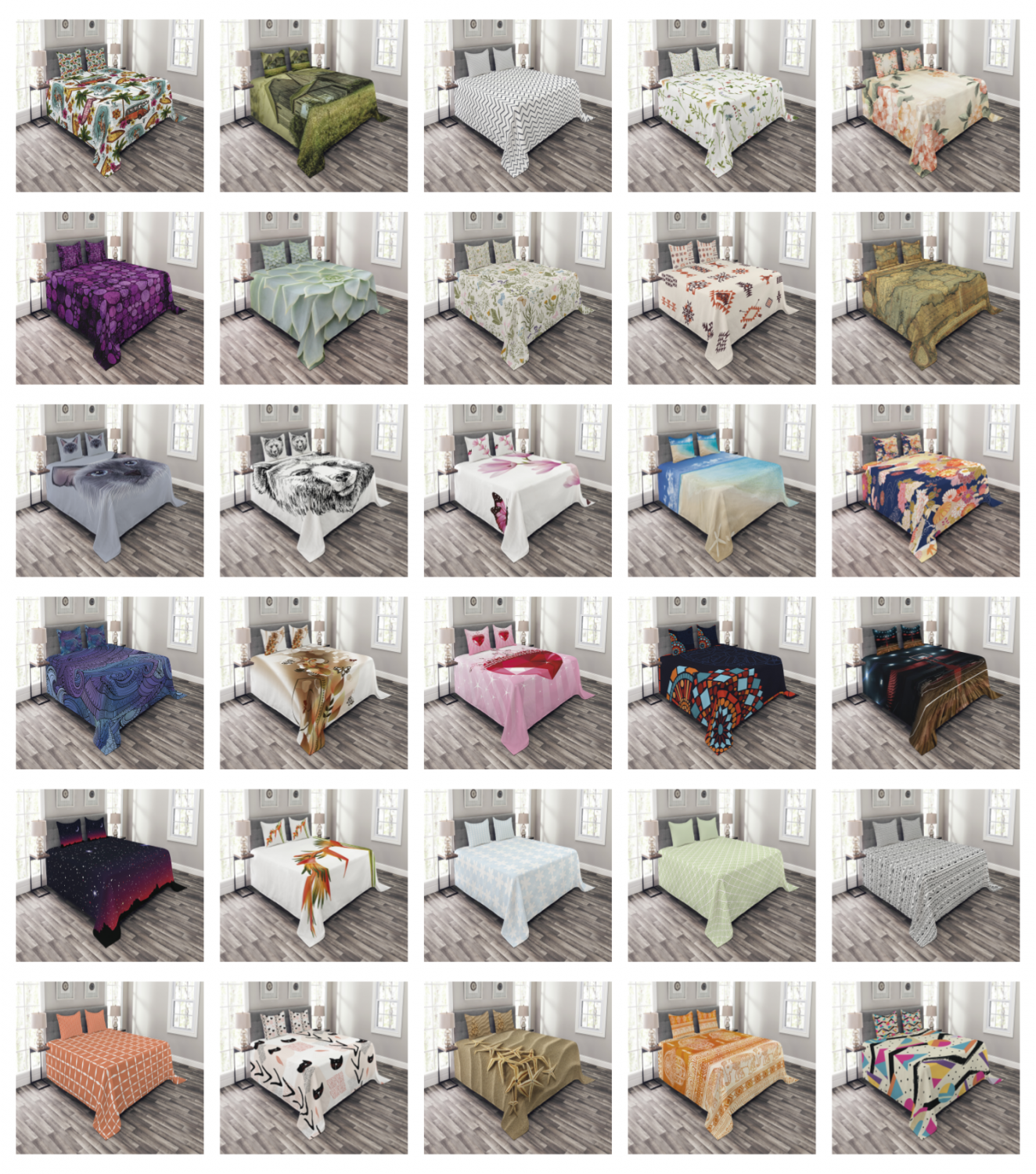Bed Coverlet Set Quilted by Ambesonne Decorative Bedspread w