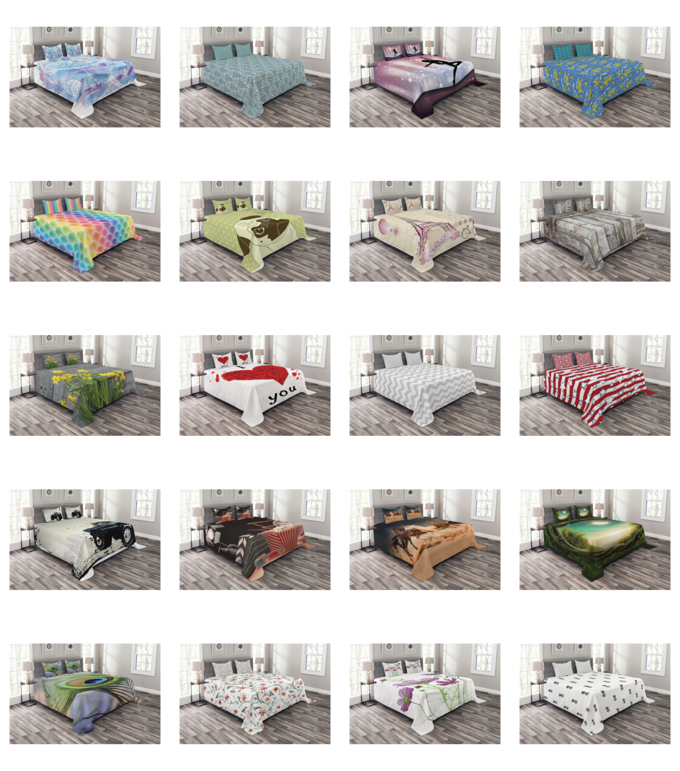 Bed Coverlet Set Quilted Pillow Shams with Decorative Bedspr