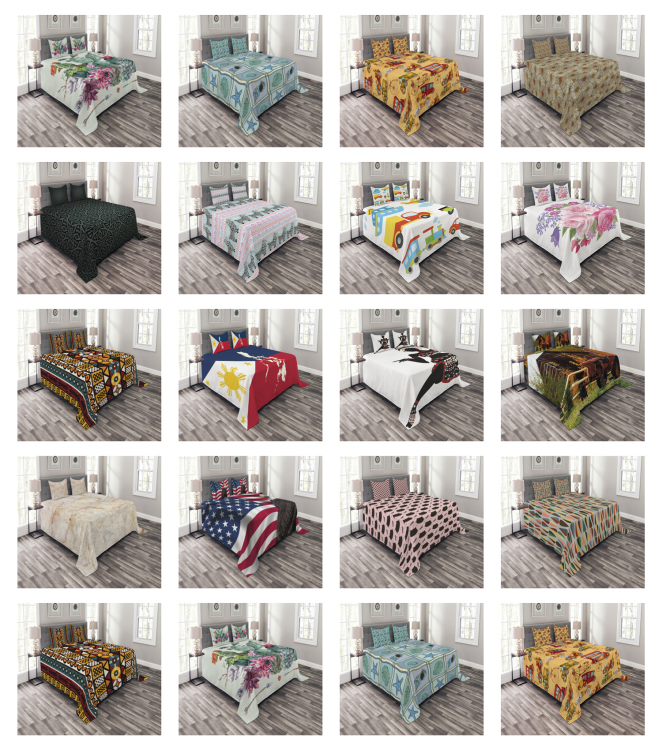 Bed Coverlet Set Quilted by Ambesonne Pillow Shams with Deco