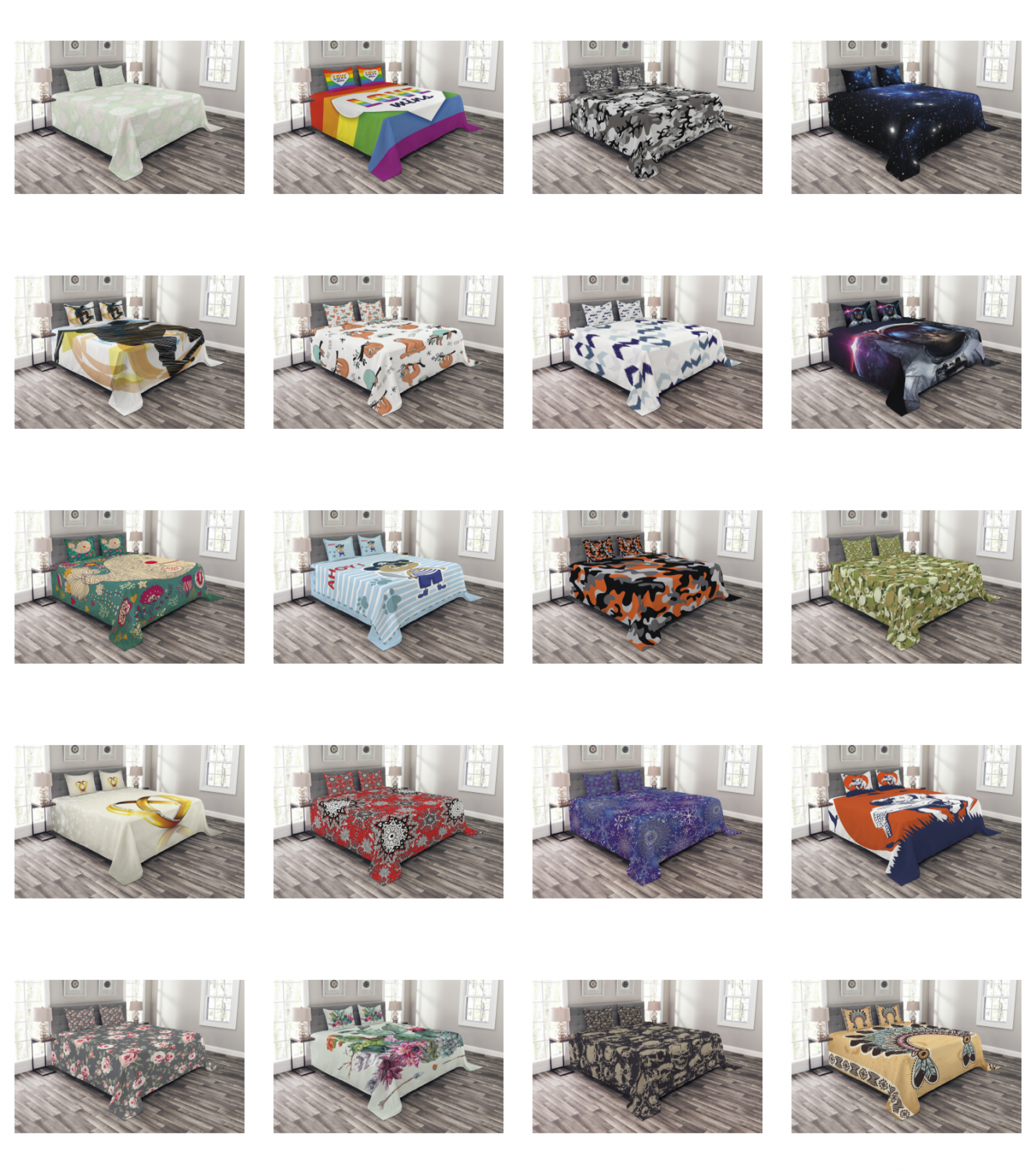 Bedspread with Pillow Shams for Bed Coverlet Set Quilted Dec