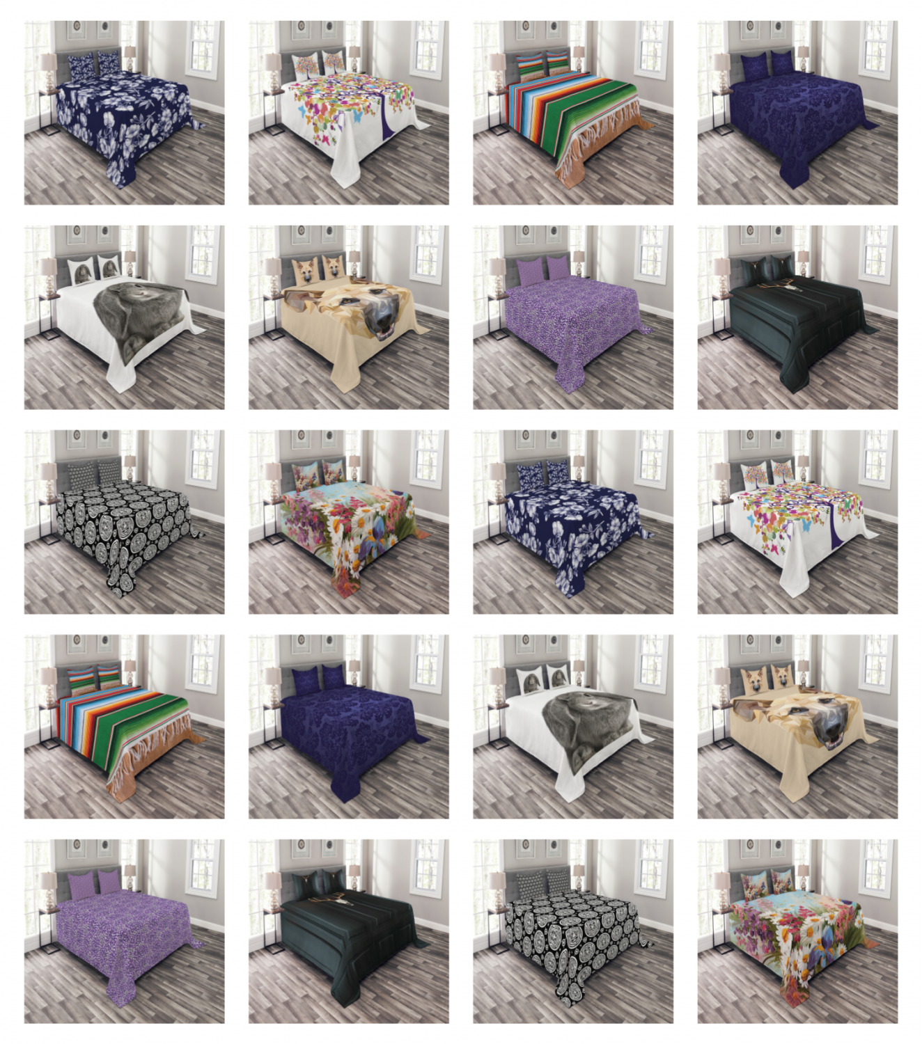 Decorative Bedspread with Pillow Shams for Bed Coverlet Set