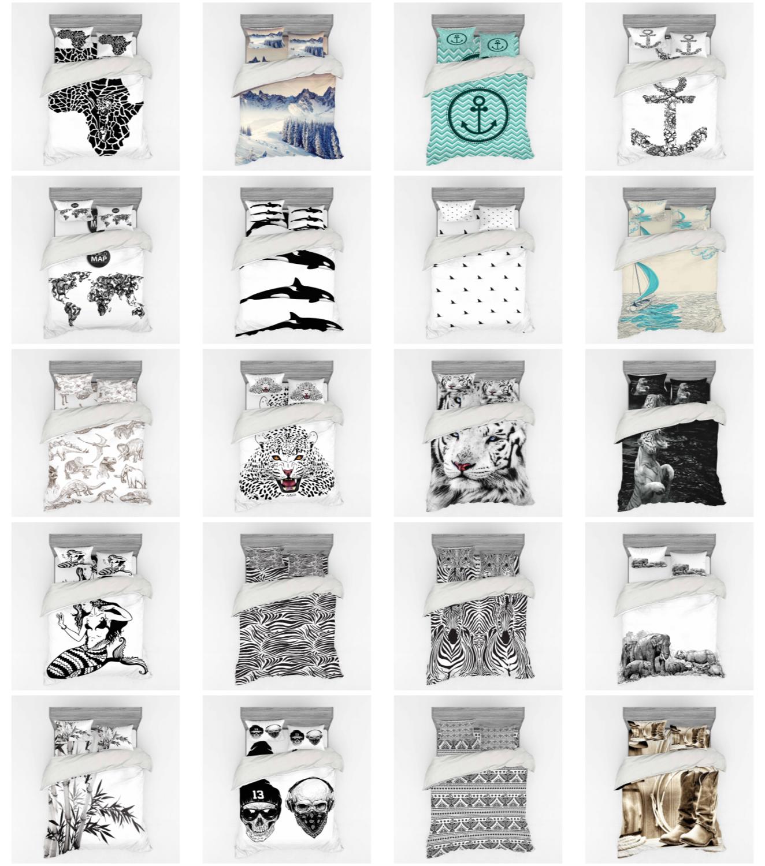Ambesonne Black White Art Bedding Set Duvet Cover Sham Fitte