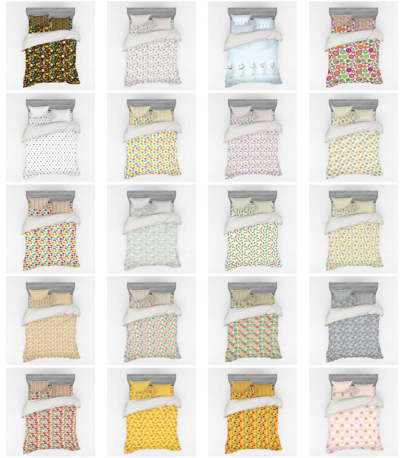 Ambesonne Easter Theme Bedding Set Duvet Cover Sham Fitted S
