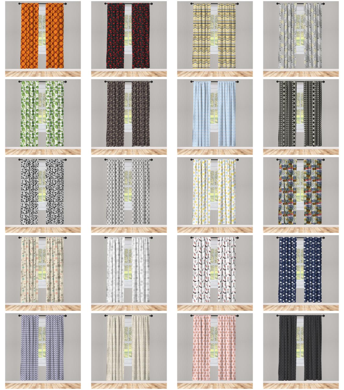 Ambesonne 2 Panel Microfiber Curtain Window Drape Wrinkle-Fr