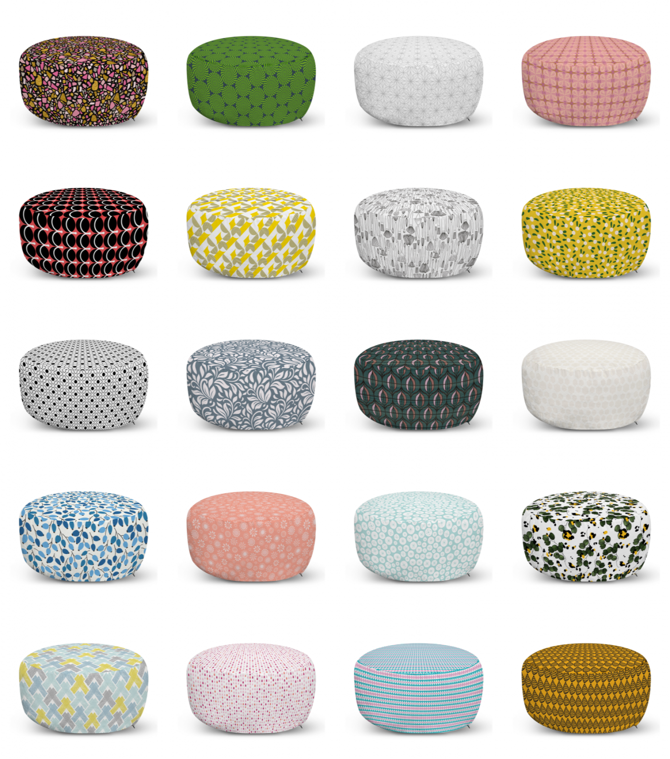 ambesonne abstract motifs ottoman pouf decor soft foot rest & removable cover
