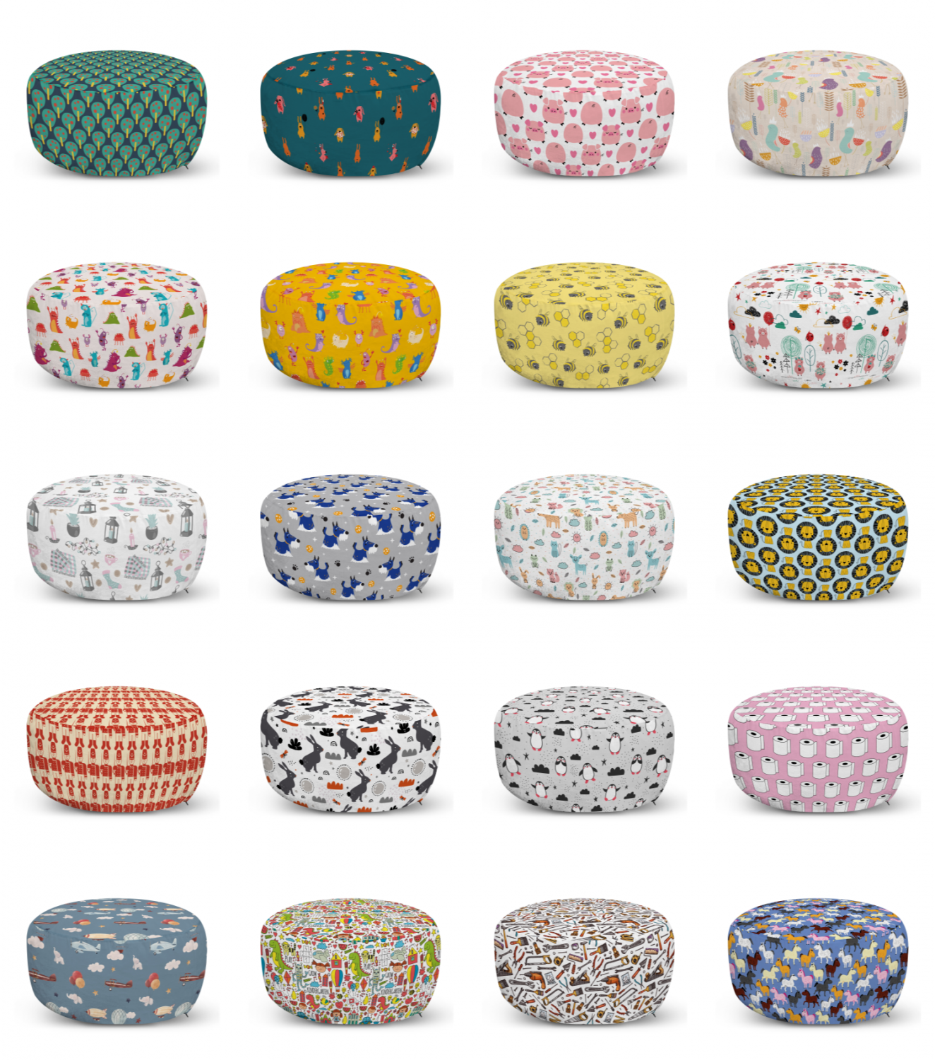 ambesonne cartoon design ottoman pouf decor soft foot rest & removable cover