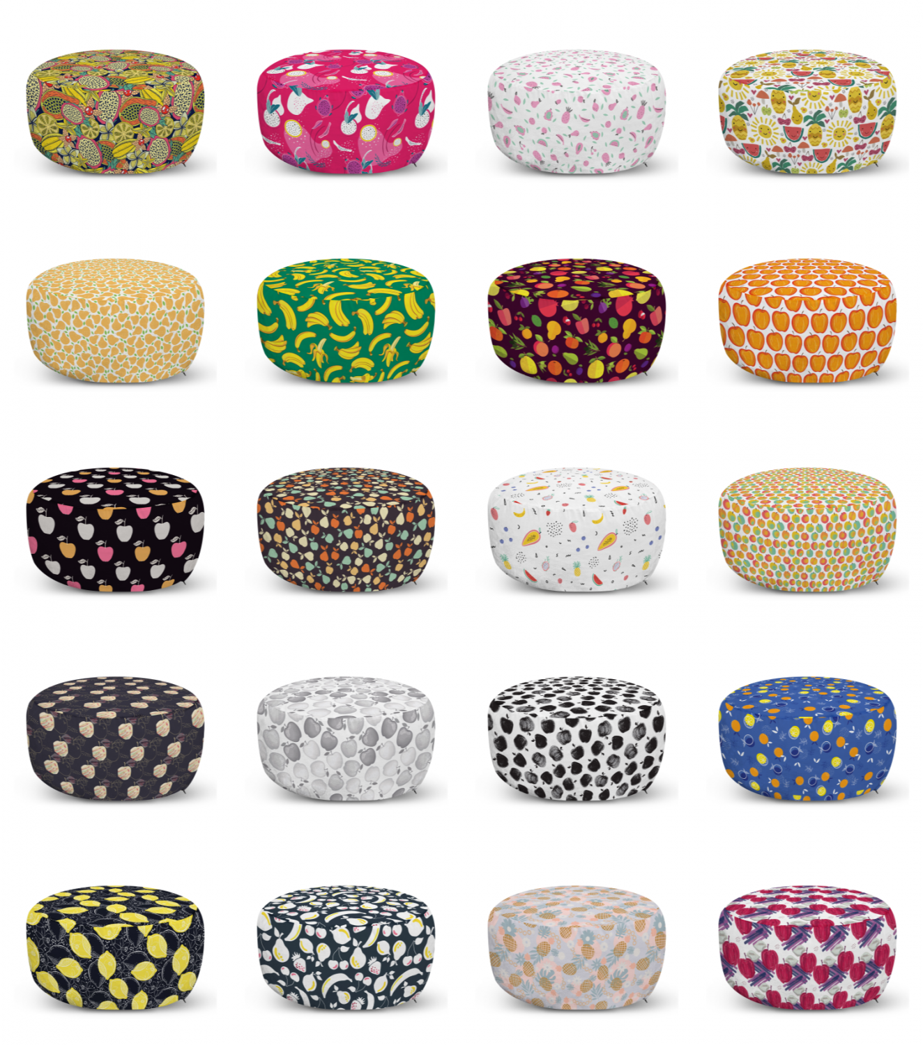 ambesonne print fruits ottoman pouf decor soft foot rest & removable cover