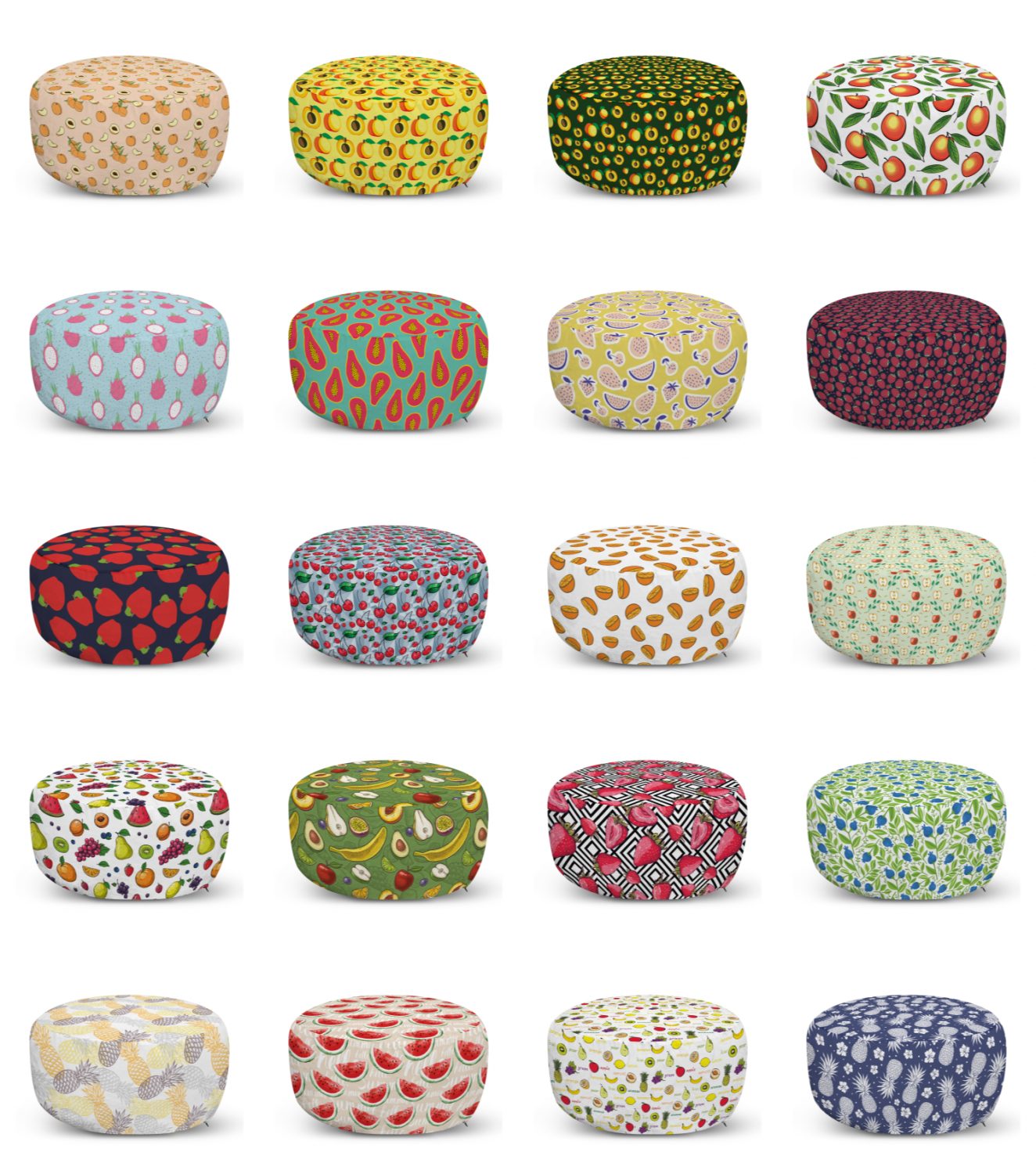ambesonne fruit ottoman pouf decor soft foot rest & removable cover