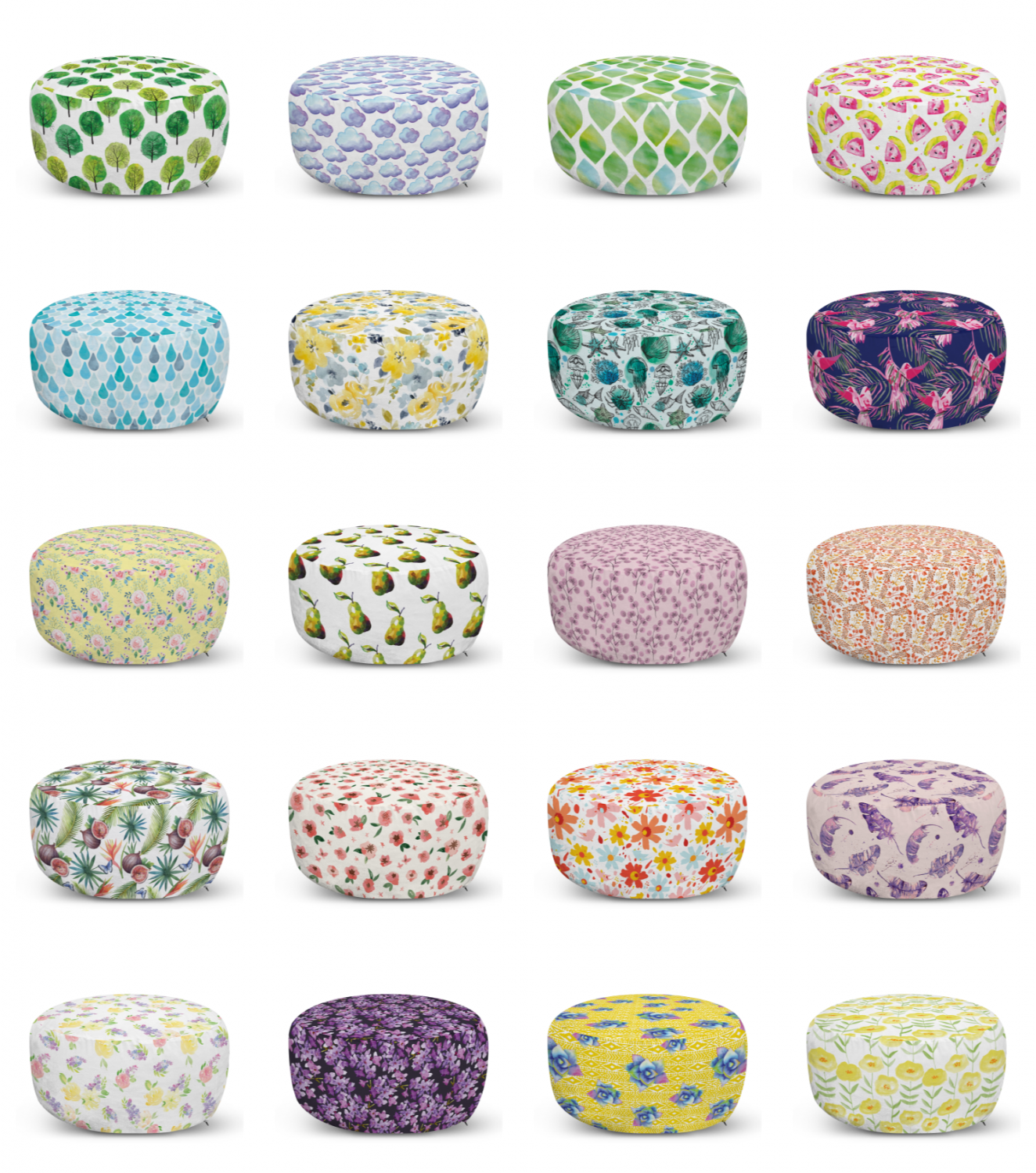 ambesonne watercolor ottoman pouf decor soft foot rest & removable cover