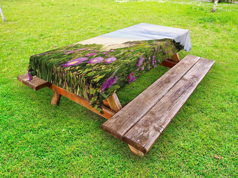 Wildflower Outdoor-Tischdecke Ägäis mit Blooming