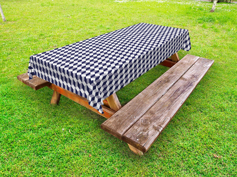 Navy blau Outdoor-Tischdecke Abstrakte Würfel-Streifen