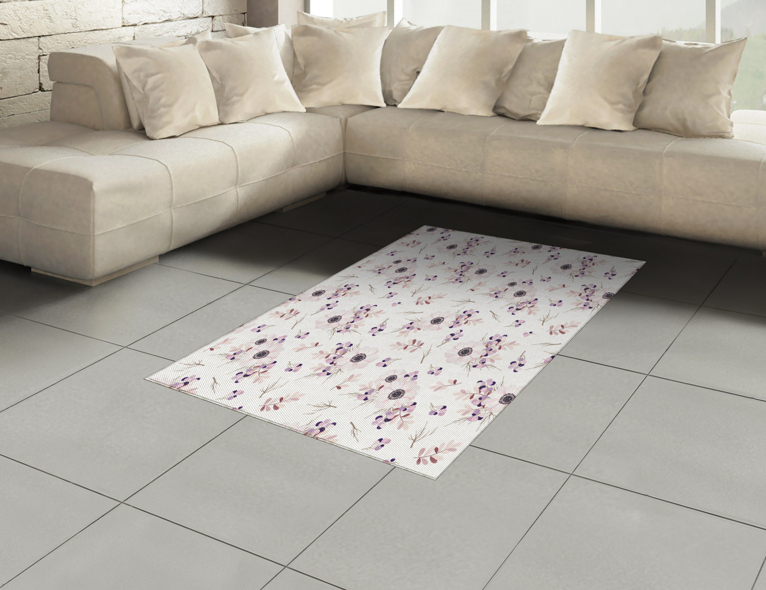 Anemone-Flower-Area-Rug-Decor-Flat-Woven-Accent-Rug-Home-Decor-2-Sizes-Ambesonne thumbnail 8