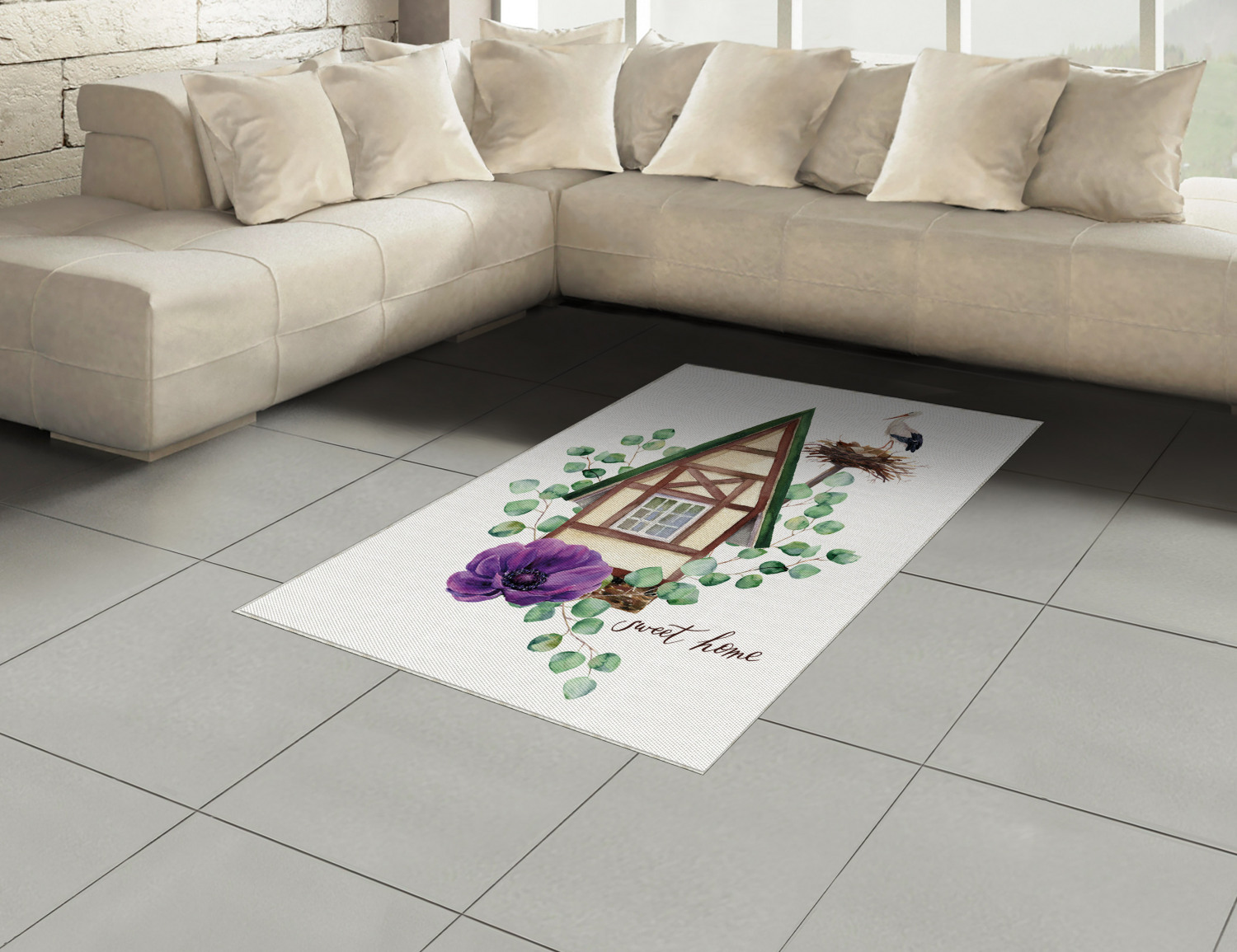 Anemone-Flower-Area-Rug-Decor-Flat-Woven-Accent-Rug-Home-Decor-2-Sizes-Ambesonne thumbnail 56
