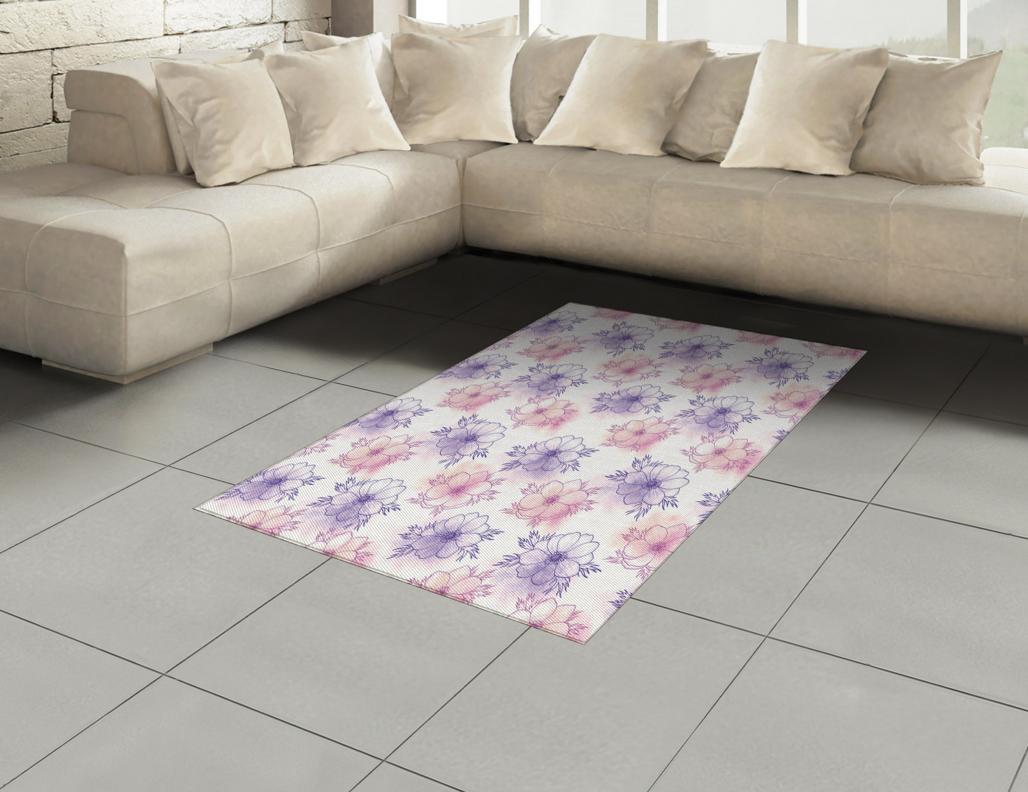 Anemone-Flower-Area-Rug-Decor-Flat-Woven-Accent-Rug-Home-Decor-2-Sizes-Ambesonne thumbnail 46