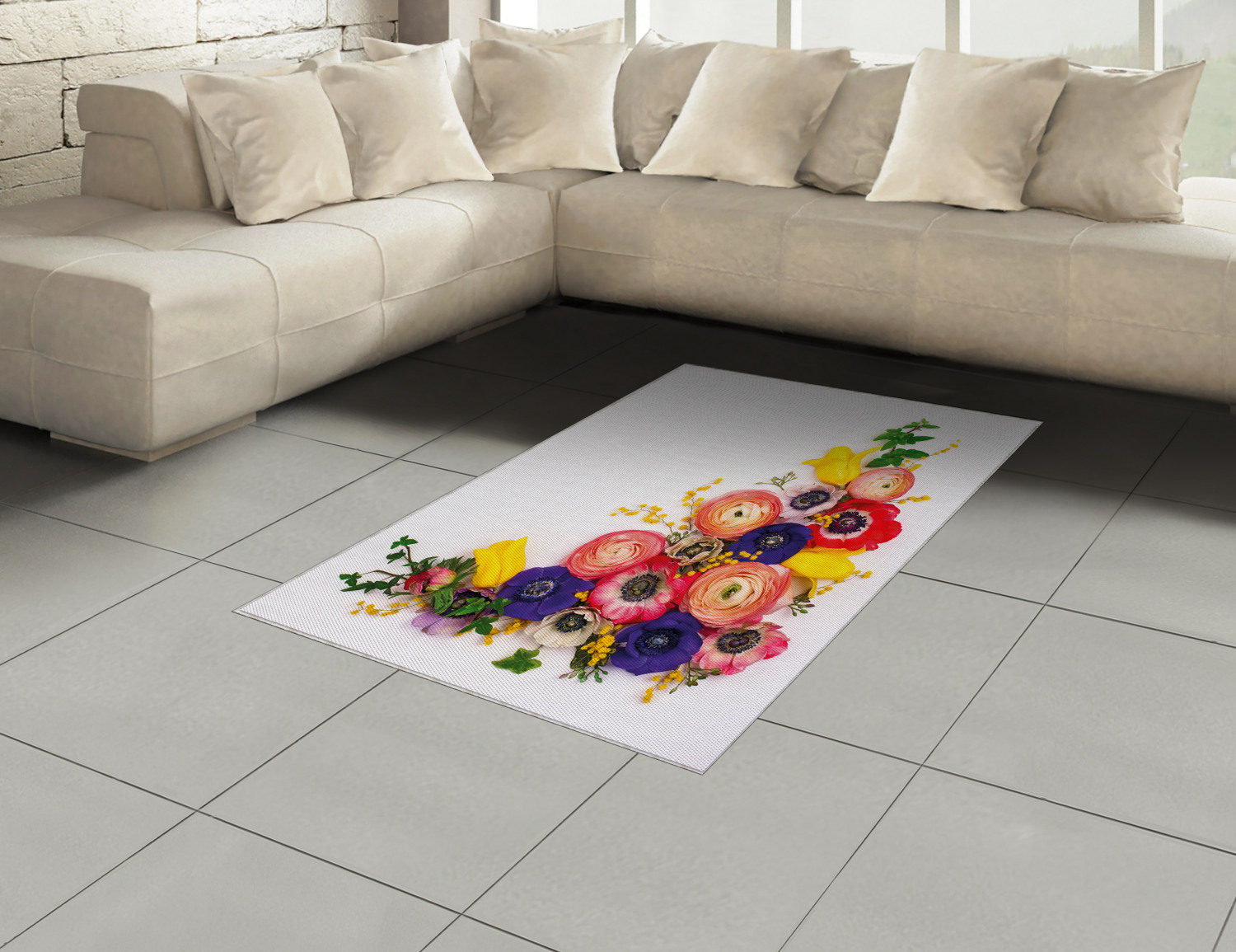 Anemone-Flower-Area-Rug-Decor-Flat-Woven-Accent-Rug-Home-Decor-2-Sizes-Ambesonne thumbnail 18