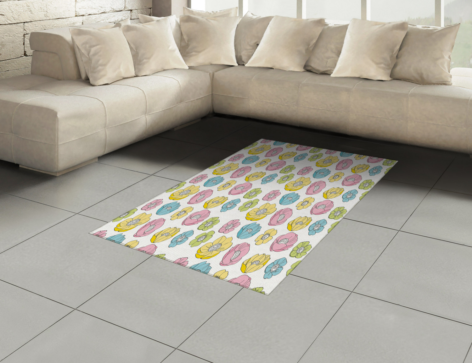 Anemone-Flower-Area-Rug-Decor-Flat-Woven-Accent-Rug-Home-Decor-2-Sizes-Ambesonne thumbnail 12