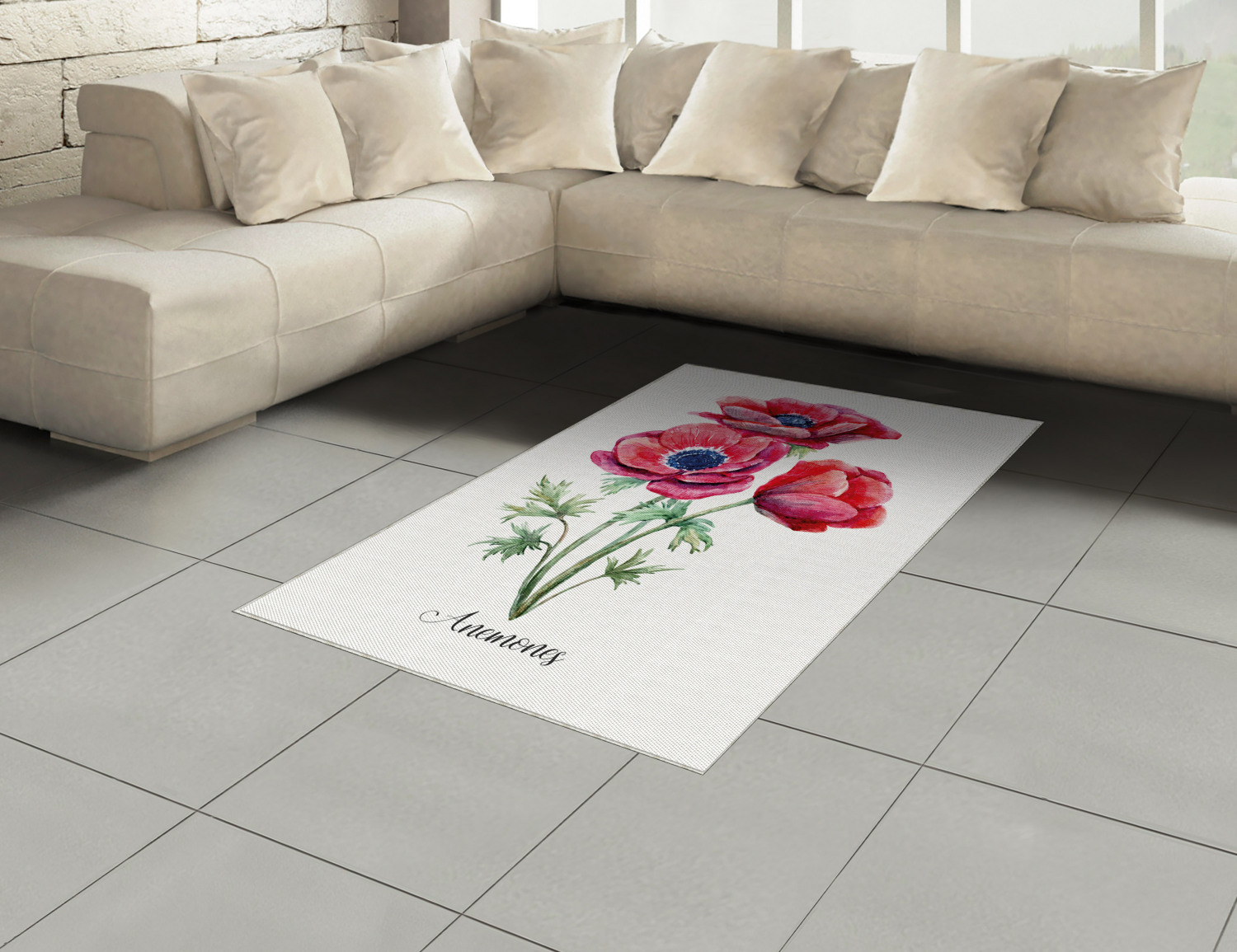 Anemone-Flower-Area-Rug-Decor-Flat-Woven-Accent-Rug-Home-Decor-2-Sizes-Ambesonne thumbnail 54